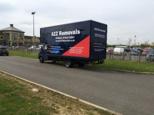 removal company van working in Peterborough