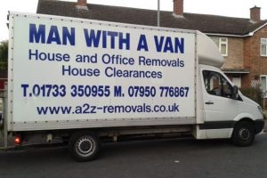 A2Z removals van in Peterborough
